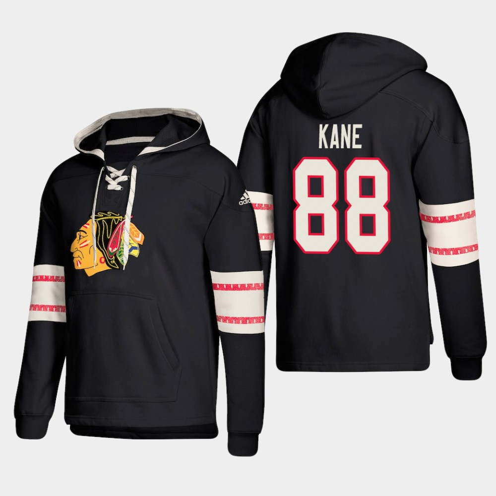 Chicago Blackhawks #88 Patrick Kane Black adidas Lace-Up Pullover Hoodie