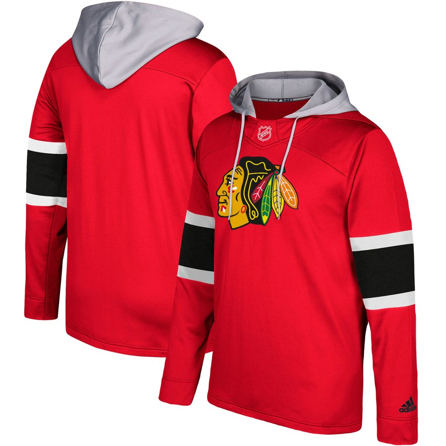 Chicago Blackhawks adidas Silver Jersey Pullover Hoodie Red