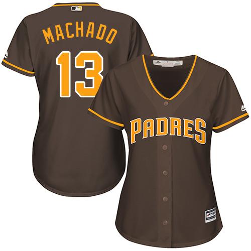 Women's Padres #13 Manny Machado Brown MLB Jersey