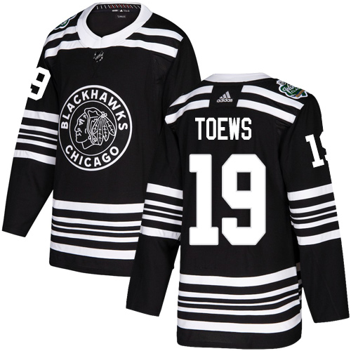 Youth Blackhawks #19 Johnthan Toews Black Authentic 2019 Winter Classic Stitched NHL Jersey