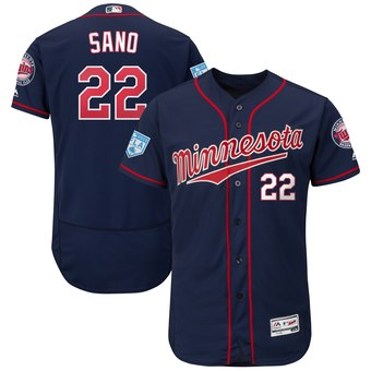 Men's Minnesota Twins 22 Miguel Sano Majestic Navy 2019 Spring Training Flex Base Player Jersey