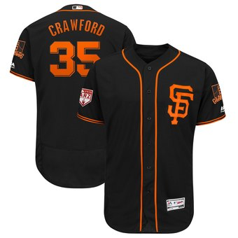 Men's San Francisco Giants 35 Brandon Crawford Majestic Black 2019 Spring Training Flex Base Player Jersey