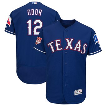 Men's Texas Rangers 12 Rougned Odor Majestic Royal 2019 Spring Training Flex Base Player Jersey