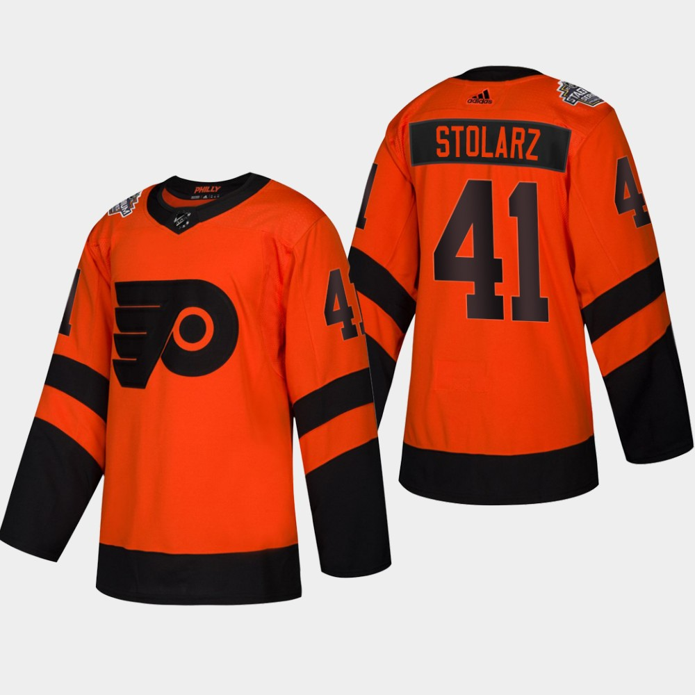 Men's Flyers #41 Anthony Stolarz Coors Light 2019 Stadium Series Orange Authentic Jersey