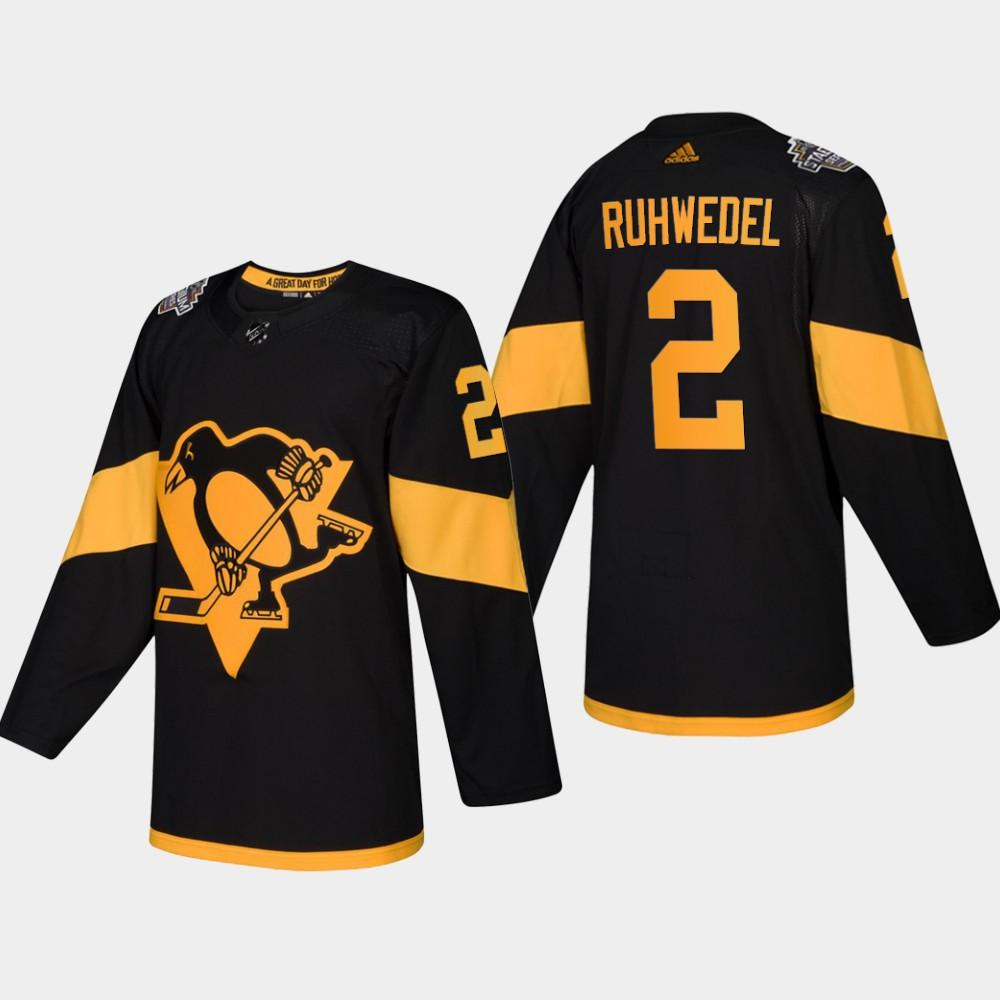 Men's Penguins #2 Chad Ruhwedel Coors Light 2019 Stadium Series Black Authentic Jersey