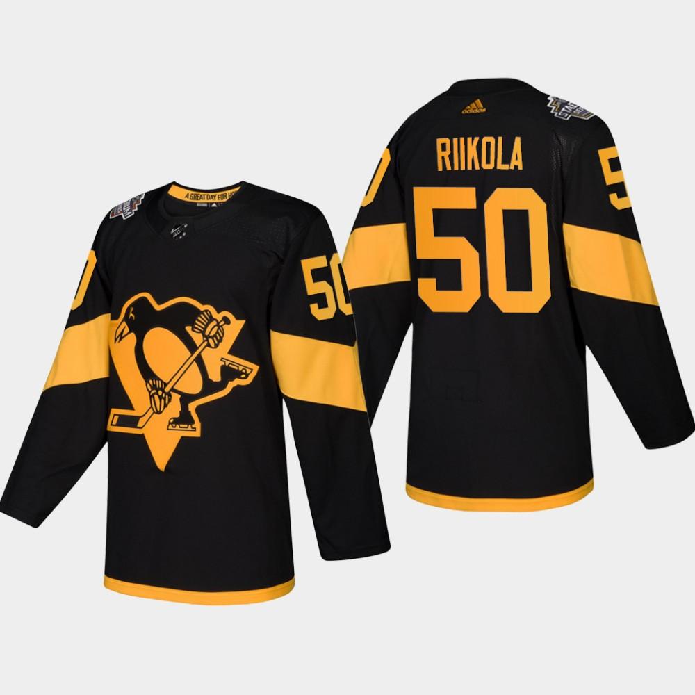 Men's Penguins #50 Juuso Riikola Coors Light 2019 Stadium Series Black Authentic Jersey