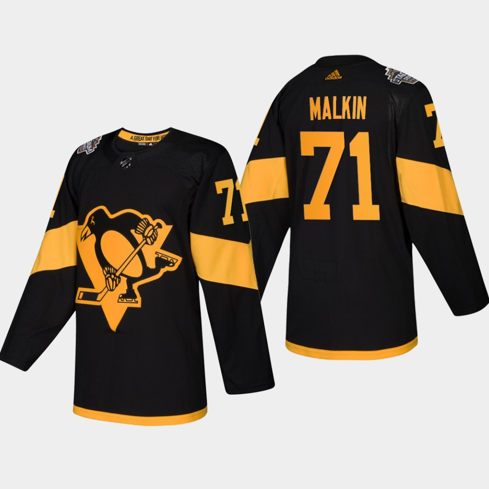Men's Penguins #71 Evgeni Malkin Coors Light 2019 Stadium Series Black Authentic Jersey