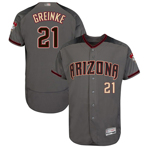 Diamondbacks #21 Zack Greinke Gray Flexbase Authentic Collection Stitched MLB Jersey