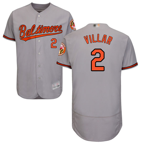 Orioles #2 Jonathan Villar Grey Flexbase Authentic Collection Stitched MLB Jersey