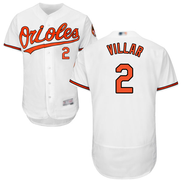 Orioles #2 Jonathan Villar White Flexbase Authentic Collection Stitched MLB Jersey