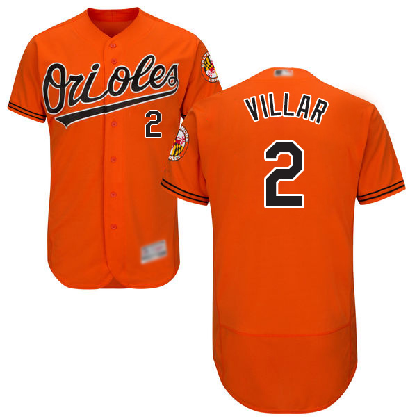 Orioles #2 Jonathan Villar Orange Flexbase Authentic Collection Stitched MLB Jersey