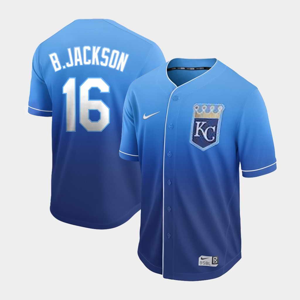 Men's Kansas City Royals #16 Bo Jackson Nike Blue Fade Jersey