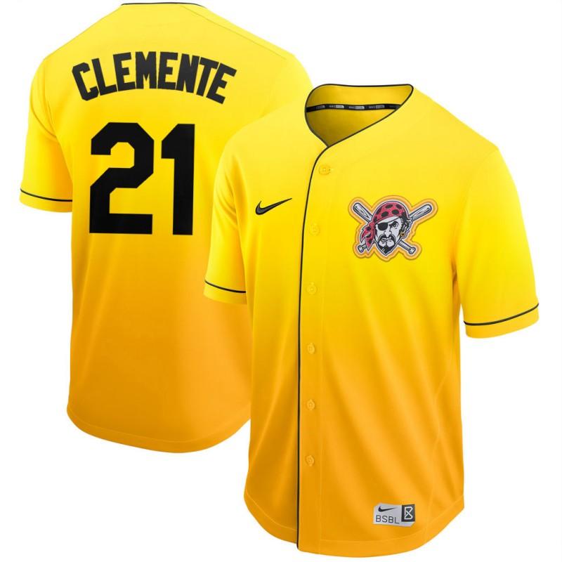 Men's Pittsburgh Pirates #21 Roberto Clemente Nike Gold Fade Jersey