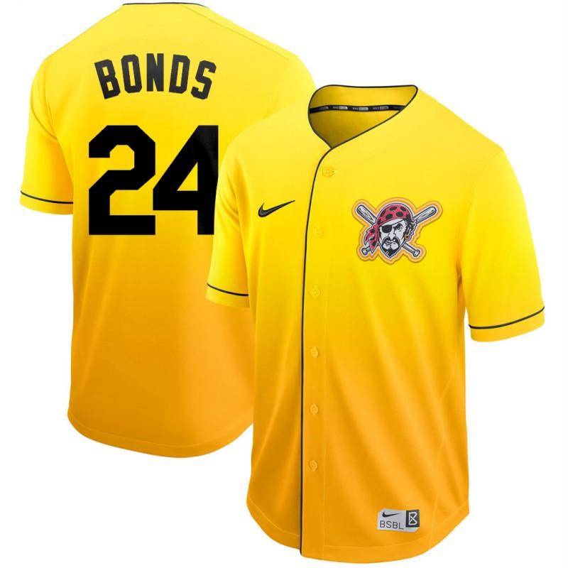 Men's Pittsburgh Pirates #24 Barry Bonds Nike Gold Fade Jersey