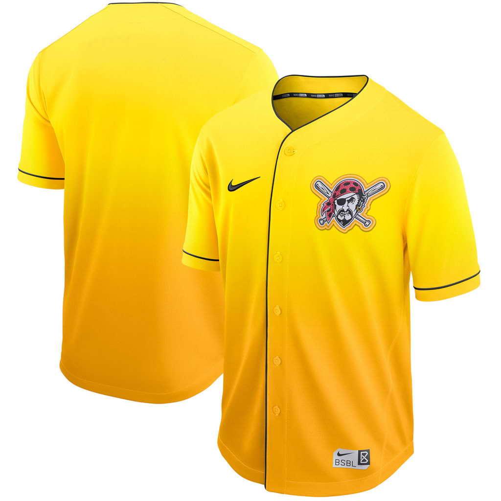 Men's Pittsburgh Pirates Blank Nike Gold Fade Jersey
