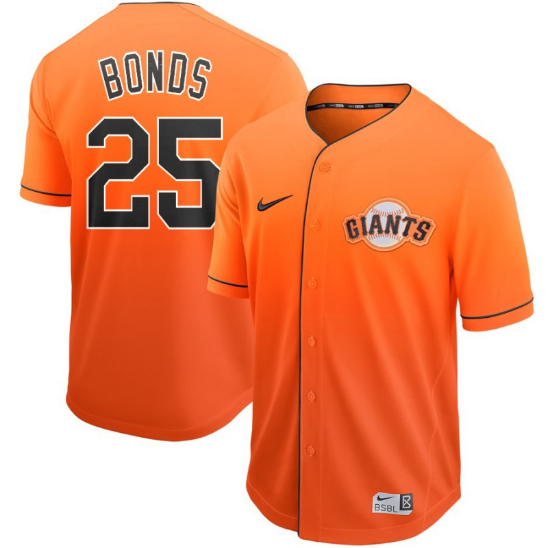 Men's San Francisco Giants #25 Barry Bonds Nike Orange Fade Jersey