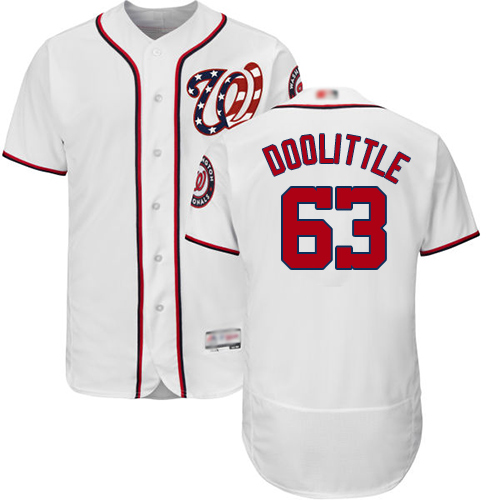 Nationals #63 Sean Doolittle White Flexbase Authentic Collection Stitched MLB Jersey