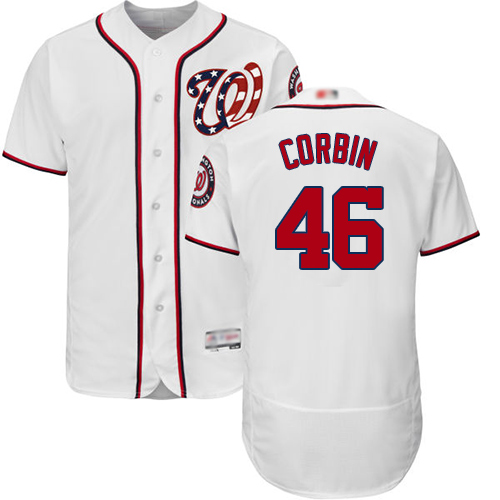 Nationals #46 Patrick Corbin White Flexbase Authentic Collection Stitched MLB Jersey