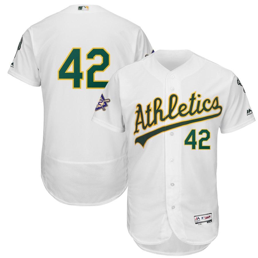 Oakland Athletics #42 Majestic 2019 Jackie Robinson Day Flex Base Jersey White
