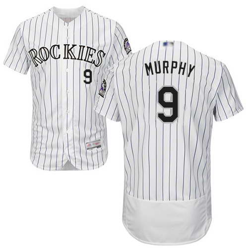 Rockies #9 Daniel Murphy White Strip Flexbase Authentic Collection Stitched MLB Jersey
