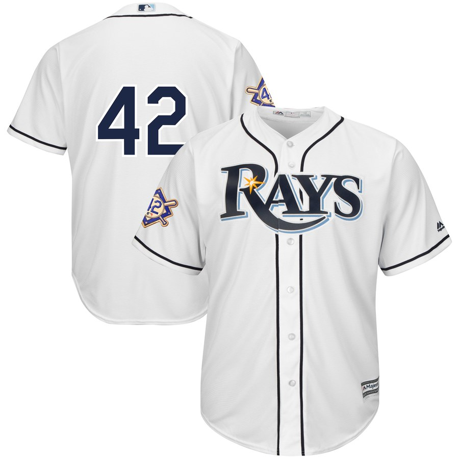 Tampa Bay Rays #42 Majestic 2019 Jackie Robinson Day Official Cool Base Jersey White