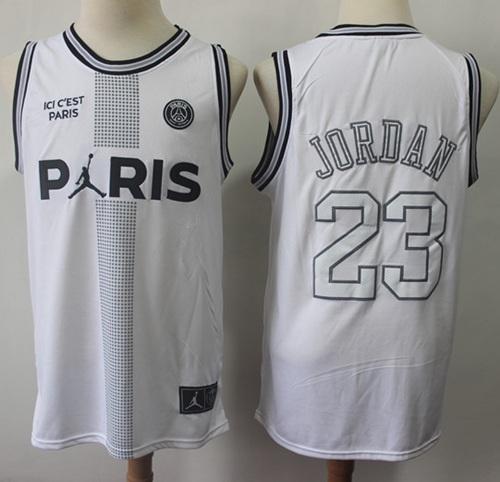 Bulls #23 Michael Jordan White Ici C'est Paris Stitched NBA Jersey