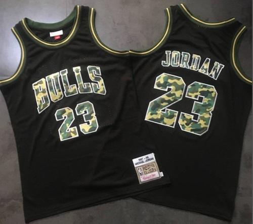 Mitchell And Ness Bulls #23 Michael Jordan Black Camo Stitched NBA Jersey