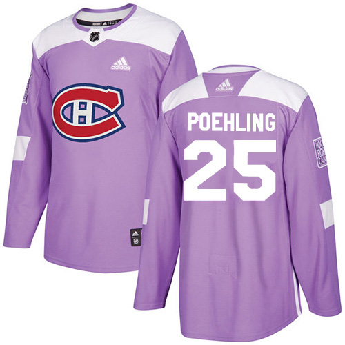 Adidas Canadiens #25 Ryan Poehling Purple Authentic Fights Cancer Stitched NHL Jersey