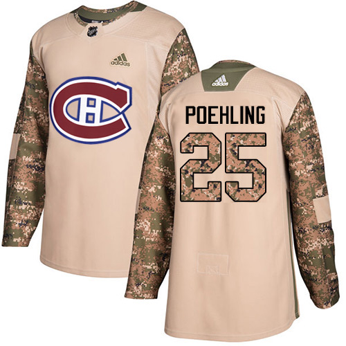 Adidas Canadiens #25 Ryan Poehling Camo Authentic 2017 Veterans Day Stitched NHL Jersey