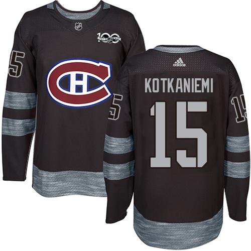 Adidas Canadiens #15 Jesperi Kotkaniemi Black 1917-2017 100th Anniversary Stitched NHL Jersey
