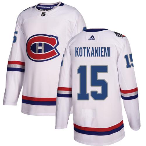 Adidas Canadiens #15 Jesperi Kotkaniemi White Authentic 2017 100 Classic Stitched NHL Jersey