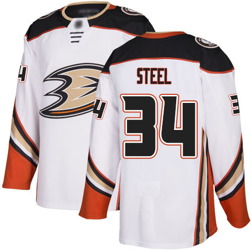 Adidas Ducks #34 Sam Steel White Road Authentic Stitched NHL Jersey
