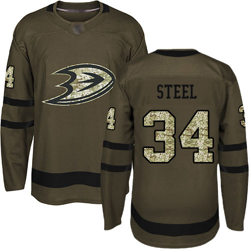 Adidas Ducks #34 Sam Steel Green Salute to Service Stitched NHL Jersey