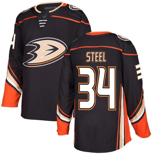 Adidas Ducks #34 Sam Steel Black Home Authentic Stitched NHL Jersey