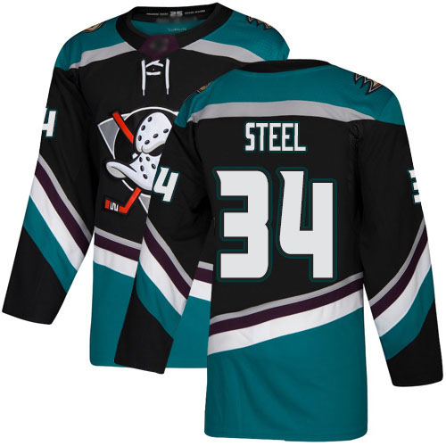 Adidas Ducks #34 Sam Steel Black Teal Alternate Authentic Stitched NHL Jersey
