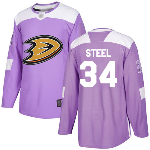 Adidas Ducks #34 Sam Steel Purple Authentic Fights Cancer Stitched NHL Jersey
