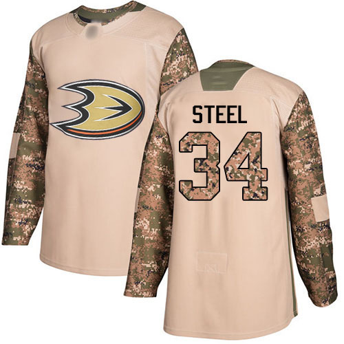 Adidas Ducks #34 Sam Steel Camo Authentic 2017 Veterans Day Stitched NHL Jersey