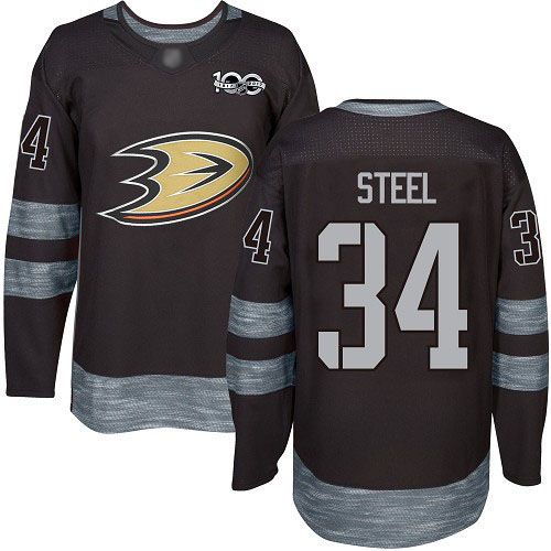 Adidas Ducks #34 Sam Steel Black 1917-2017 100th Anniversary Stitched NHL Jersey