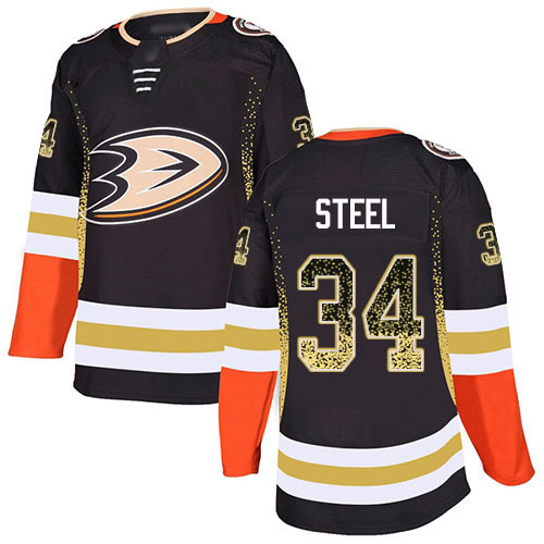 Adidas Ducks #34 Sam Steel Black Home Authentic Drift Fashion Stitched NHL Jersey