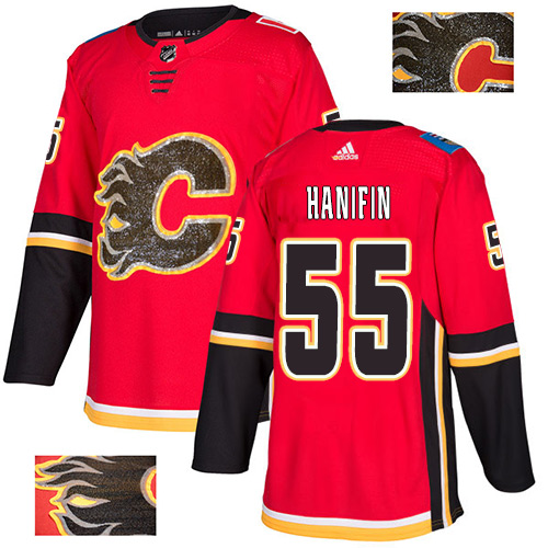 Adidas Flames #55 Noah Hanifin Red Home Authentic Fashion Gold Stitched NHL Jersey