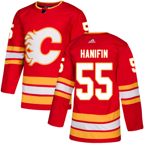 Adidas Flames #55 Noah Hanifin Red Alternate Authentic Stitched NHL Jersey