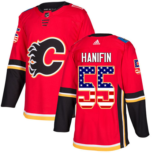 Adidas Flames #55 Noah Hanifin Red Home Authentic USA Flag Stitched NHL Jersey