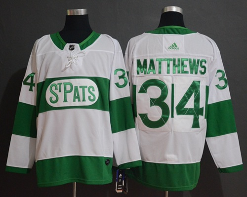 Adidas Maple Leafs #34 Auston Matthews White Authentic St. Pats Stitched NHL Jersey