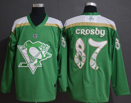 Adidas Penguins #87 Sidney Crosby Green Authentic 2019 St. Patrick's Day Stitched NHL Jersey