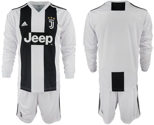 Juventus Blank Home Long Sleeves Soccer Club Jersey