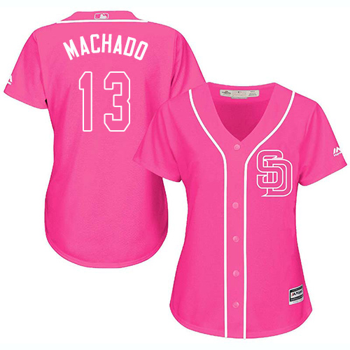 Padres #13 Manny Machado Pink Fashion Women's Stitched MLB Jersey