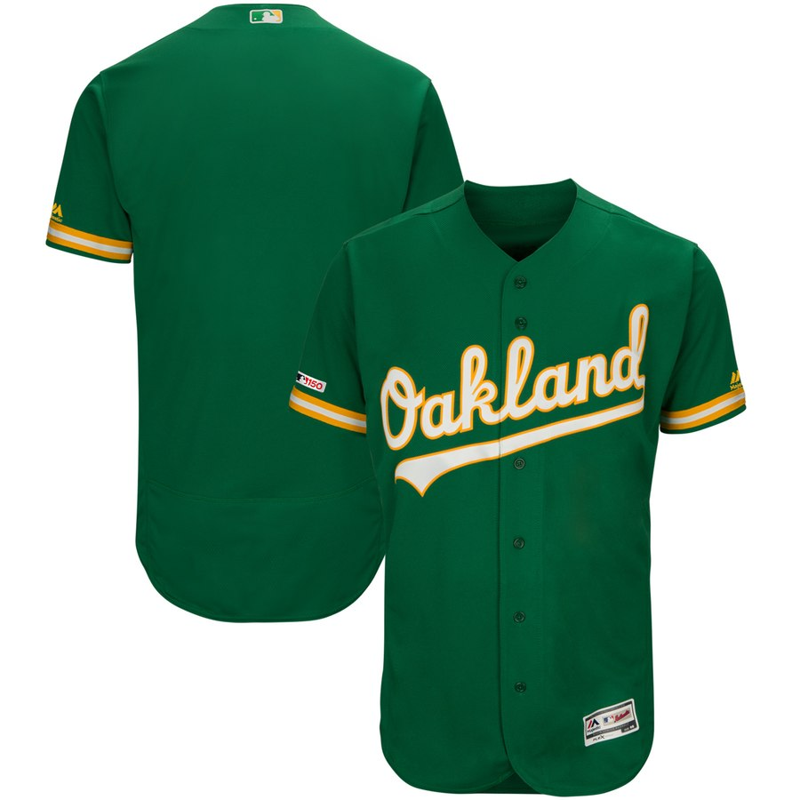 Athletics Blank Majestic Kelly Green Alternate Flex Base Authentic Collection Team Jersey