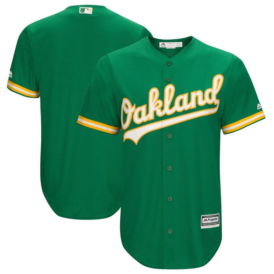 Athletics Majestic Kelly Green Cool Base Team Jersey