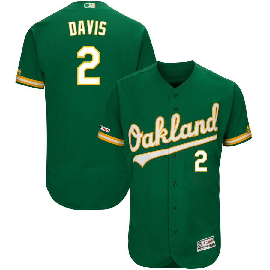 Athletics #2 Khris Davis Majestic Kelly Green Alternate Flex Base Authentic Collection Player Jersey