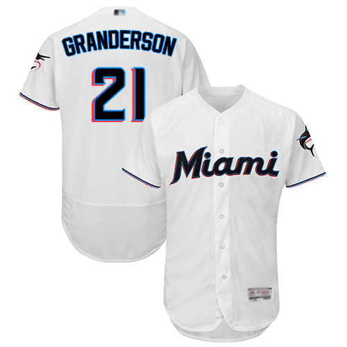 Marlins #21 Curtis Granderson White Flexbase Authentic Collection Stitched MLB Jersey